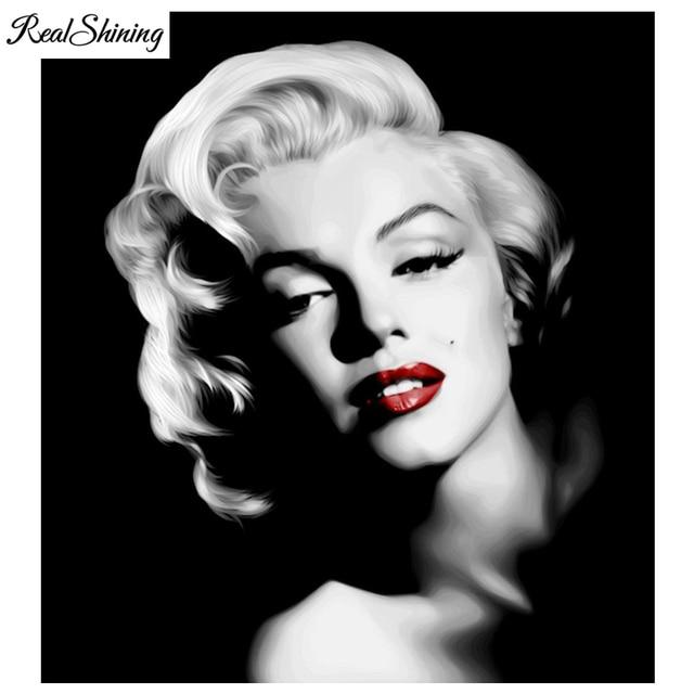 REALSHINING 3D Diy Full Square Diamond Embroidery Marilyn Monroe ...