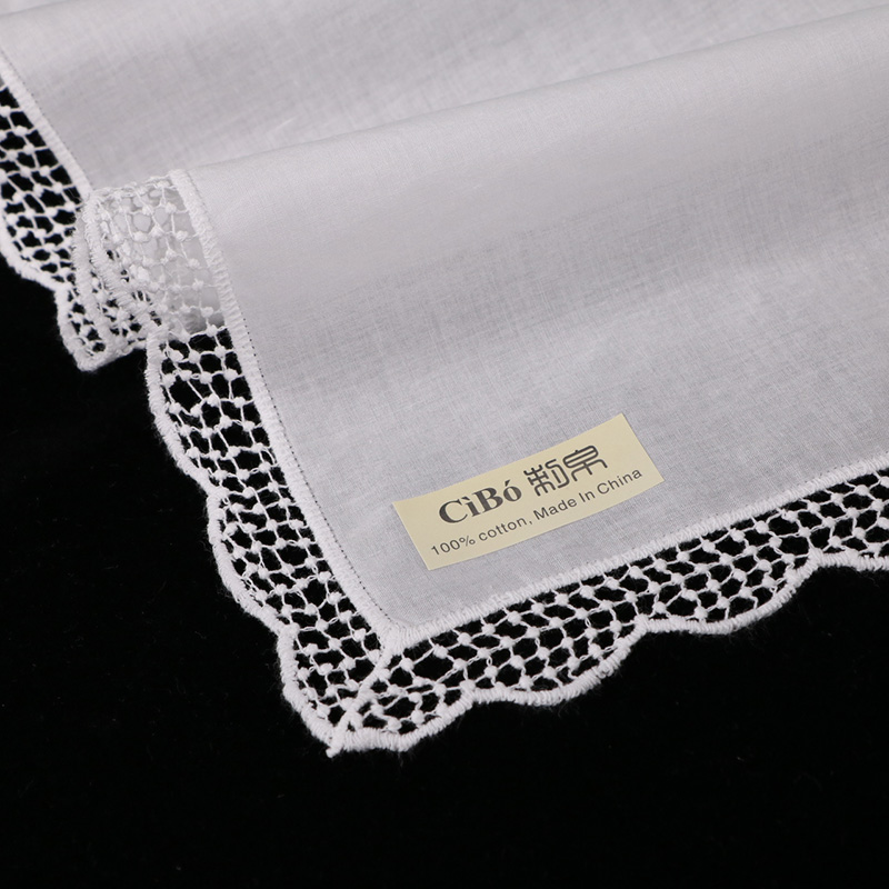 120 Pieces White Premium Cotton Lace Wedding Handkerchiefs Blank