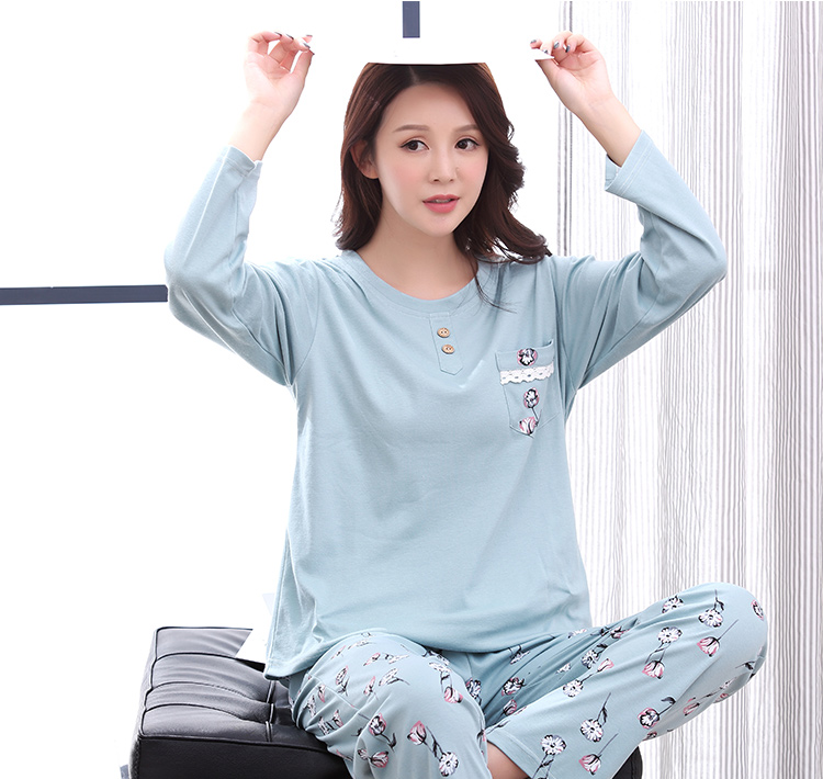 baefbaa452573 Casual Tracksuit Flower Printed Sleepwear O Neck Shirts + Pants ...
