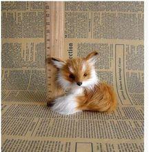 small simulation fox toy Polyethylene&fur yellow fox baby doll gift about 9x7x8cm