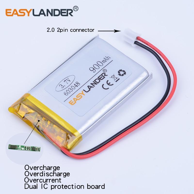 3pcs/Lot 603048 3.7V 900mAh Rechargeable li-Polymer Li-ion Battery For gaming Mouse MP3 MP4 GPS PSP DVR DVD speaker 583048