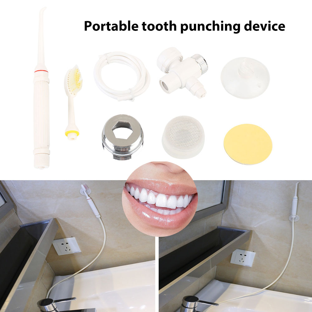 White Teeth Flusher With Stand Portable Massage Travel Oral Irrigator Dental Water Flosser