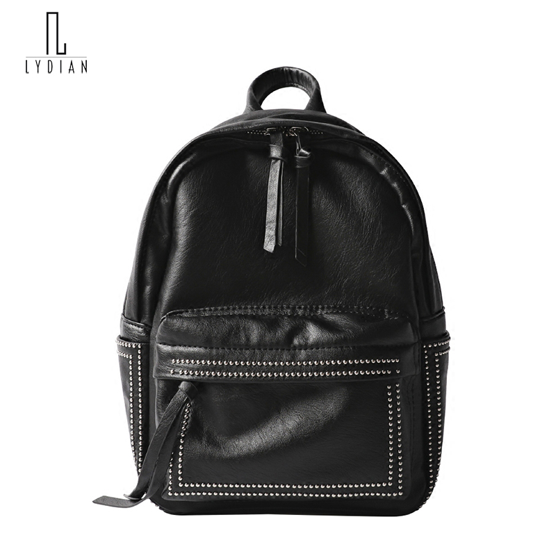 Lydian Korean Style Backpacks Women 2018 New Soft Bagpack Pu Shoulder Bag Rivet Casual Zip Backpack College Book Bags Travel Bag new 2018 women backpack leather rivet bag ladies shoulder bags girls school book bag black backpacks mochila bagpack 3 pcs sets