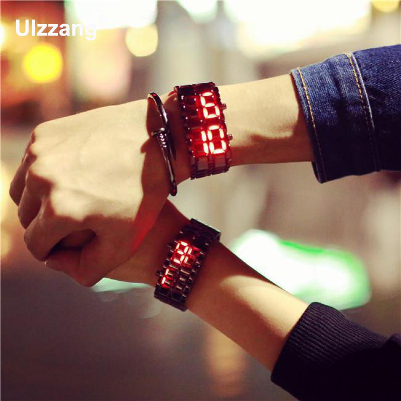 Hot Sale Cool Silver Full Stainless Steel LED Lava Blue Red Light Digital Wristwatch Watch For Men Women Unisex Couple