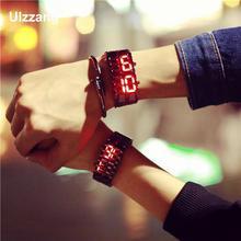 Лидер продаж Cool Серебряный полный Нержавеющаясталь светодиодный Лава синий и красный цвета свет цифровые наручные часы для Для мужчин Для женщин для влюбленных пар, унисекс