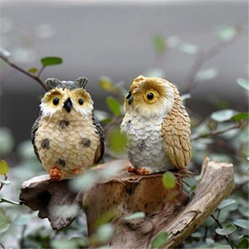 Landscape Owl Doll Resin Fairy Home Garden DIY Decor Micro Ornaments Decoration