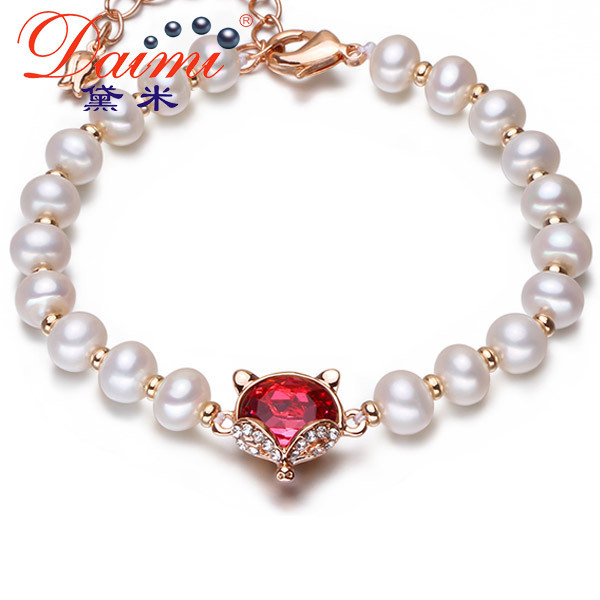 [Daimi] red fox pulseira 2015 nova bola de ouro com pérolas de água doce branco pulseira animal jóias pulseira
