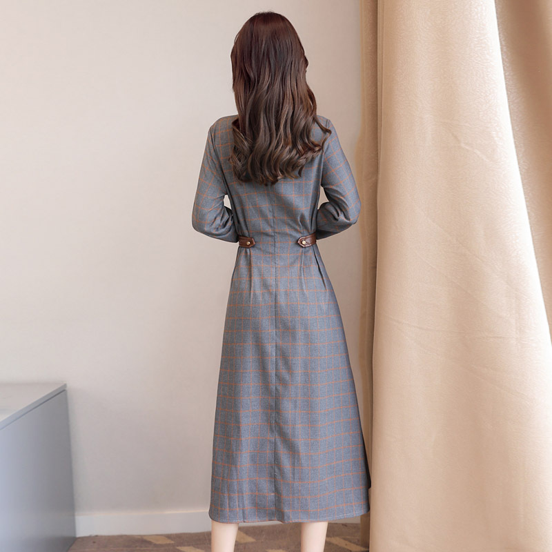 Manches 2018 Robe Féminine Mode Dress Casual Hiver Mujer Élégant Robes Automne S59 Plaid Sexy Vintage Longues Femmes xWroEQCdeB