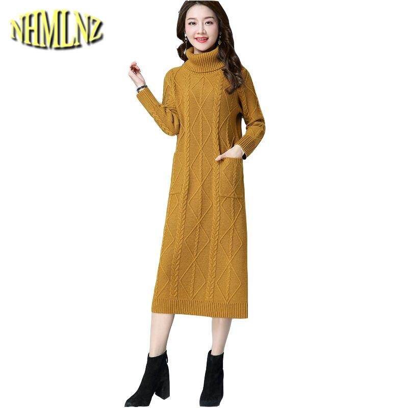Pull Automne Wun1095 Yellow creamy orange Col Robe Chandail brown Haut 2018 Femmes Mode Longue Hiver Élégante Nouveau Black Mince White De g6qwnt5