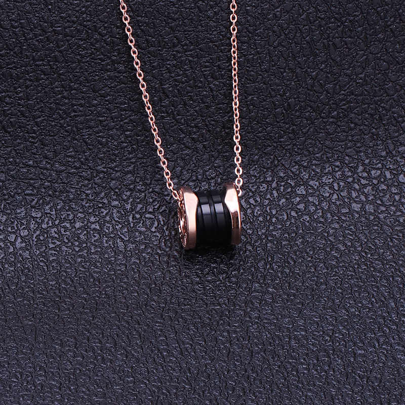Stainless Steel Roman Numerals Ceramic Necklaces Pendants For Women Fashion Gold Silver Girl Clavicle Link Chain Jewelry