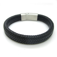 Fashion Men Stingray Black Brown Leather Silver Plated Stainless Steel Magnetic Clasp Male Leather Bracelets Jewelry