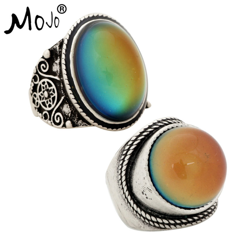2PCS Antique Silver Plated Color Changing Mood Rings Changing Color Temperature Emotion Feeling Rings Set For Women/Men 004-045