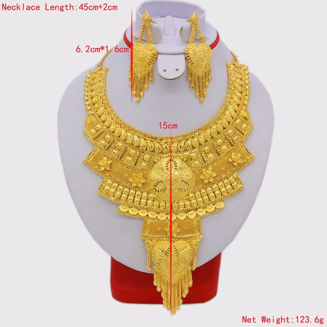 New Fashion Necklace&Earrings Jewelry Set for Women Gold Color & Copper African/Arab/Middle East Wedding/Party Gifts