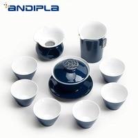 9PCS Teaware Vintage Japanese Style Ji Blue Glaze Gold Line Porcelain Tea Set 1 Teapot Gaiwan 6 Teacups 1 Fair Cup 1 Filter Kit