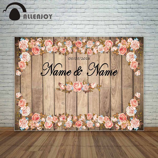 Allenjoy photography backdrop vintage wedding wood flowers romantic lovers backdrop background for photo studio photocall vinyl