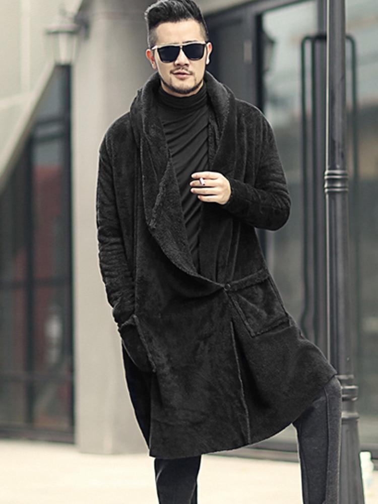 Image 3 - Winter Men long slim black plush shawl cashmere cardigan hooded  jacket men warm pockets European style cardigan F7149