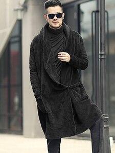Image 3 - חורף גברים ארוך slim שחור קטיפה צעיף קשמיר קרדיגן סלעית מעיל גברים חם כיסים אירופאי סגנון קרדיגן F7149