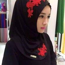 Хлопковый хиджаб шарф, кружевной вышитый женский хиджаб платок на голову длинные шали обертывания Джерси мусульманский шарф