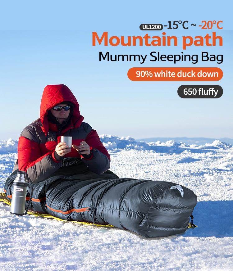 Naturehike Factory 90% Duck Down Sleeping Bag mountain path Mummy thicken Sleeping Bag Winter warm down Single Sleeping Bag