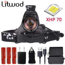 Z20 Litwod 2806 32W chip XHP70 Headlight 3200lum powerful Led headlamp zoom Head light head lamp flashlight torch Lantern