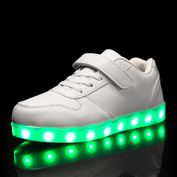 Fashion Led Kids Sneakers Children's USB Charging Luminous Lighted Sneakers Boy/Girls Colorful LED lights Children Shoes 25-40 Boy's Shoes