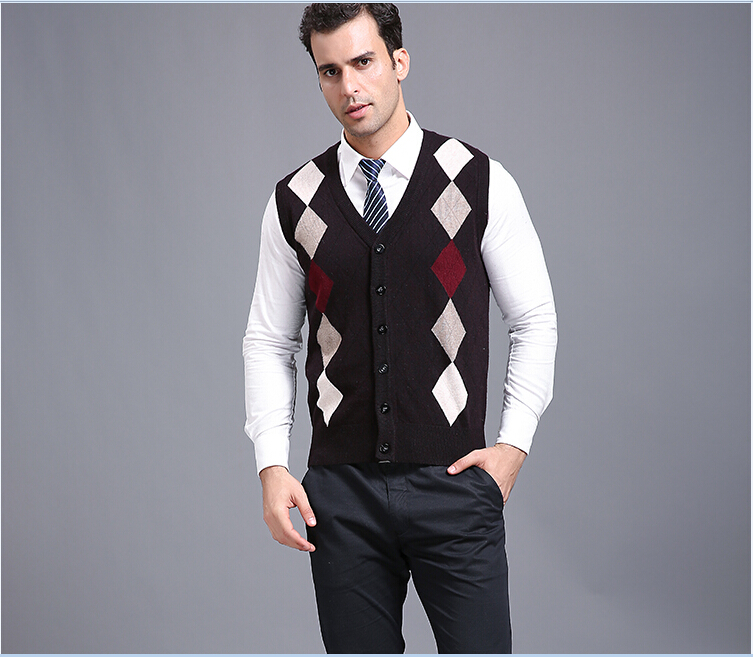 High quality autumn men v neck sleeveless argyle cashmere sweater vest cardigan(China (Mainland