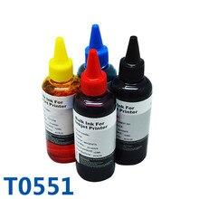 Горячая продажа 4×100 мл t0551 для epson принтер чернил пополнения чернил комплект для epson stylus photo r240/rx420/rx425/rx520 для epson чернила
