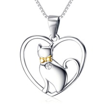 Plata de Ley 925 CZ Crystal White Cat Pet Colgante en Forma de Corazón Maxi Collar Animal Jewelry
