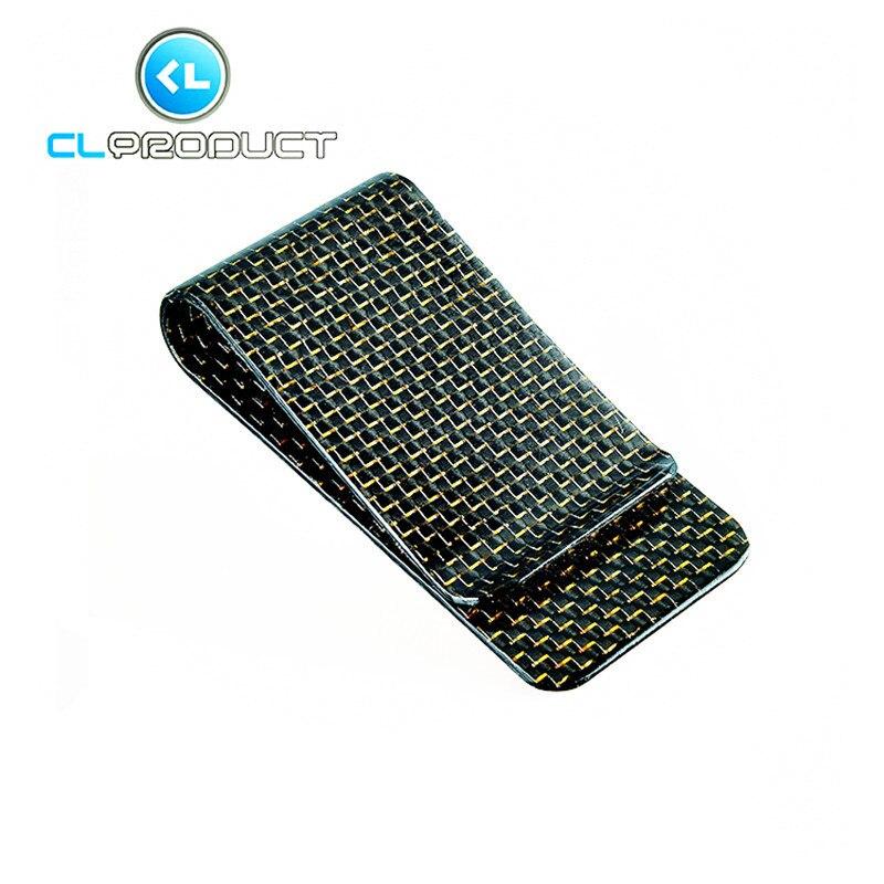 Carbon Fiber Money <font><b>Clip</b></font> Gold Glossy L size- Genuine 3K Twill- Credit Card Business Wallet Money <font><b>Clips</b></font>