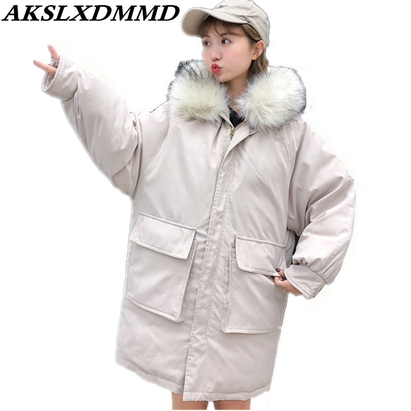 2019 New Women Winter Jacket Warm Loose Large Size Hooded Fur Collar Cotton Coat Fashion Solid Thick Long   Parkas   Outerwear CW137