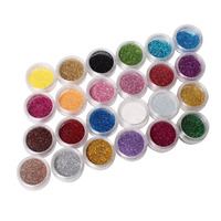 24 Colors Nail Art Glitter Powder Dust For UV GEL Acrylic Powder Decoration Tips