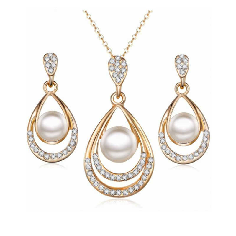 3pcs/set Hollow Silver Gold Water Drop Metal Crystal Round Simulated-pearl Inlay Pendant Necklace Earring Jewelry Set for Women