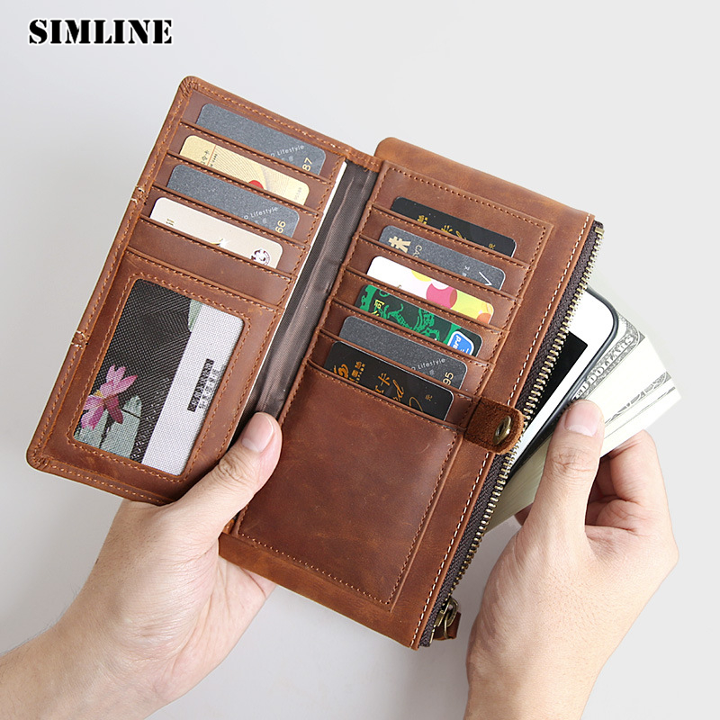 SIMLINE Vintage Genuine Crazy Horse Cow Leather Cowhide Men Mens Long Wallet Wallets Purse Zipper Coin Pocket Clutch Bag For Man цена и фото