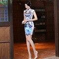Высокое Качество Женщины Лето Короткое Ретро Китайское Традиционное Платье Тонкий Цветочный Qipao Шелк Cheongsam Женщины Партия Вечернее Платье 18