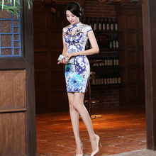 High Quality Women Summer Short Retro Chinese Traditional Dress Slim Flower Qipao Silk Cheongsam Female Party Evening Dress 18