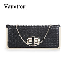 2016 Brand Women Fashion Pu Leather Chains Clutch Bag Ladies Zipper Shoulder Bag Brand Design Casual Weave Messenger Bag