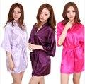 De gran Tamaño Sexy de Seda de Noche de Satén Kimono Robe Albornoz Corto Perfecto Bata Batas de Novia Dama de Honor de La Boda Para Las Mujeres