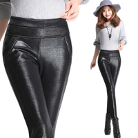 2018 New Winter Velvet Warm Fashion Sexy Slim Women PU Leather Leggings Skinny Pants Plus Size 4XL Suitable for 40 100KG D125