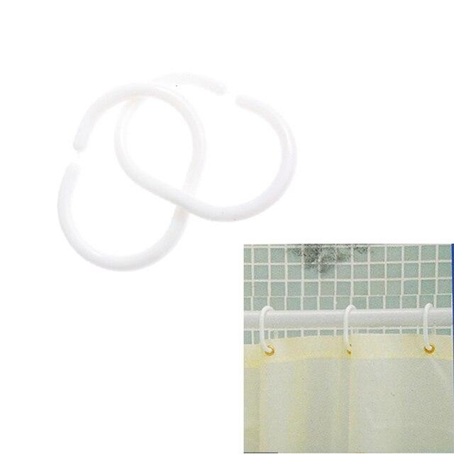 12Pcs White Shower Curtain Hooks Hanger Plastic C type Ring Bath ...