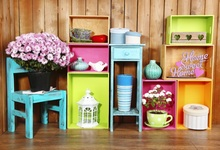 Laeacco Room Colorful Shelf Flowers Chair Baby Newborn Photography Background Customized Photographic Backdrops For Photo Studio