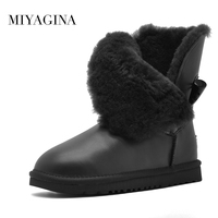 Top Quality 100 Genuine Cowhide Leather Snow Boots Natural Fur Botas Mujer Winter Real Wool Shoes