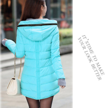 Women winter hooded warm coat slim plus size candy color cotton padded basic jacket female medium-long  jaqueta feminina