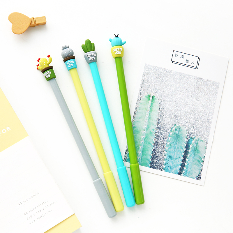 36 pcs/Lot Cute Cactus gel pens Green potting plant pen 0.5mm Black color ink Stationery Office decoration school supplies deli gel pens office 12 pcs black ink stationery pen cute school supplies creative stationery for writing high quality pen