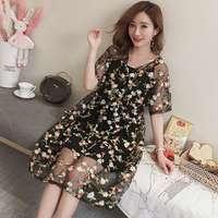 2018 גרסה קוריאנית של שמלת הריון ארוך סגנון חדש קיץ שמלת רשת לשלוח לרתום