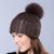Plus Size Bola de Pele de Raposa Mulheres Chapéus de Inverno com Fio de Prata Tampas de malha Skullies & Gorros Pompons De Peles Reais Feminino Manter Earwarm