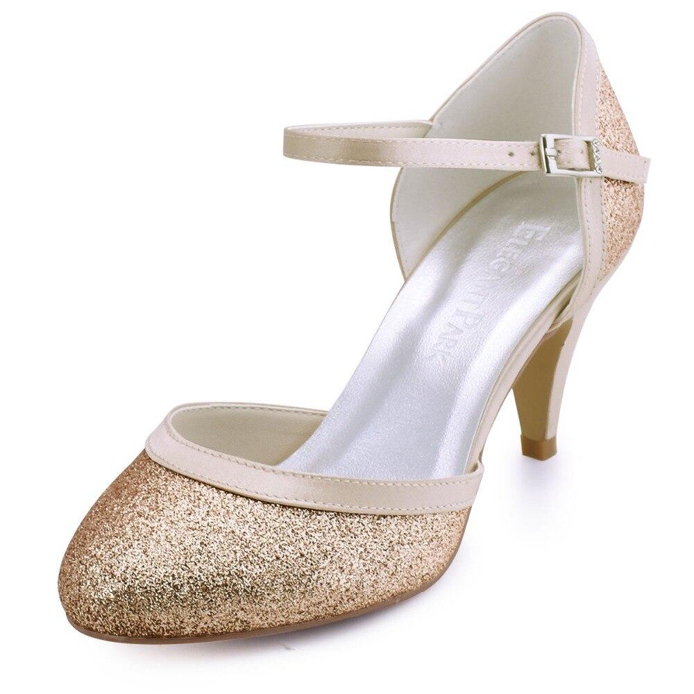 HC1510  Women's Kitten Heels Closed Toe Closed Toe  High Heel  Glitter PU Wedding  Bridal Prom Evening Party Shoes kitten heels