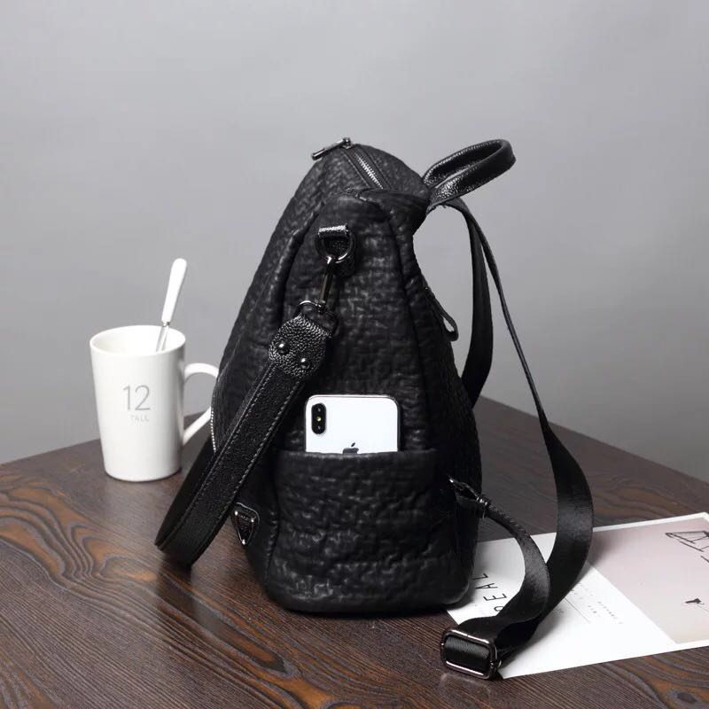 Fashion Women Backpack High Quality Youth Leather Backpacks for Teenage Girls Female School Shoulder Bag Bagpack mochila E159 in Backpacks from Luggage Bags