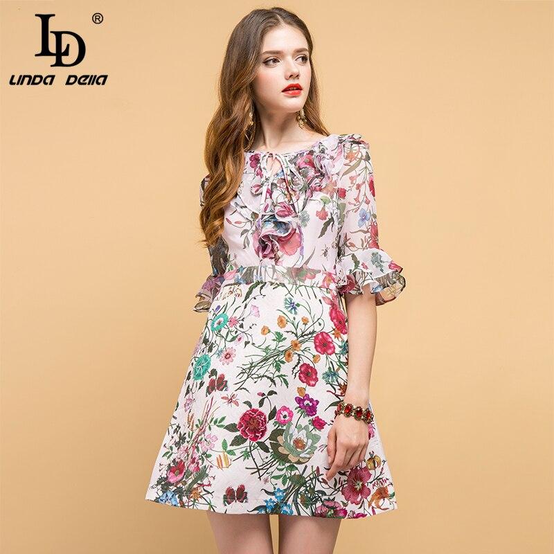 LD LINDA DELLA New Fashion Designer Summer Dress Women s Bow Tie Ruffles Floral Printed Elegant