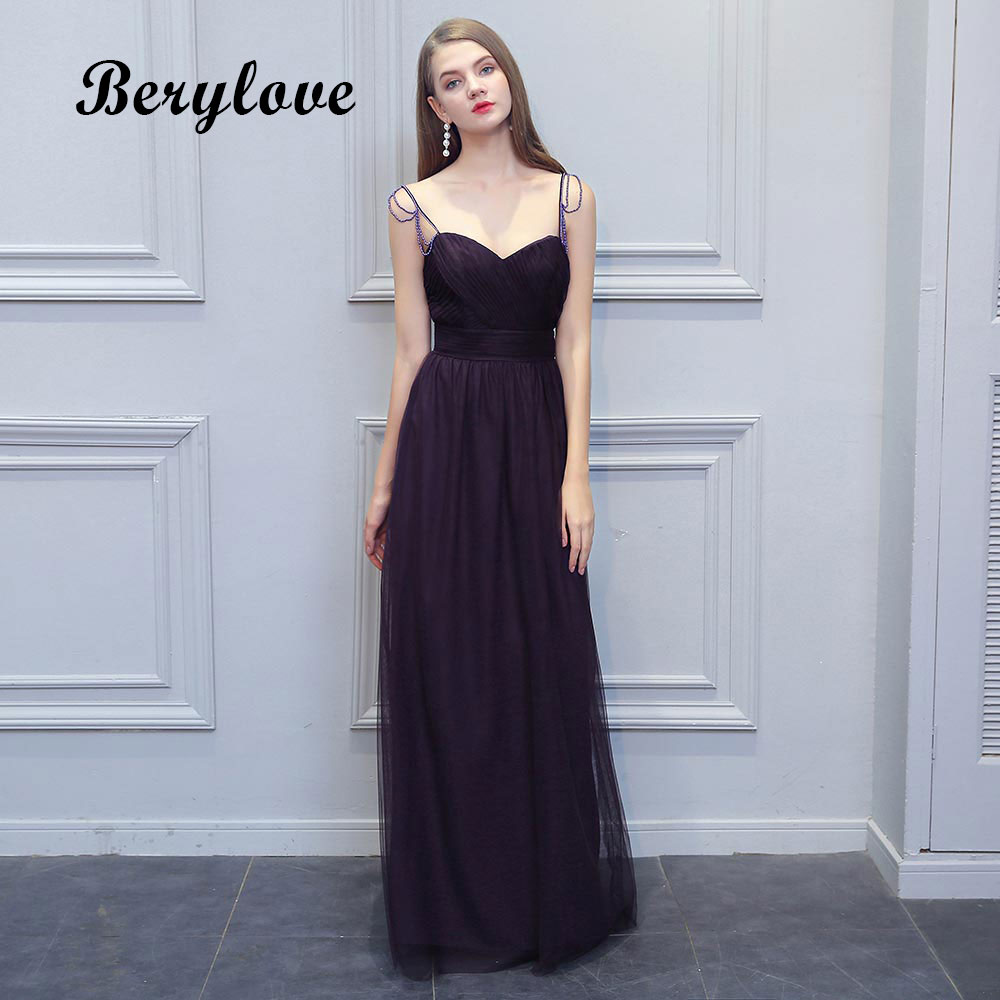 BeryLove Long Spaghetti Straps Evening Dresses Beading Tulle Prom Dresses 2018 Formal Evening Dress For Women Party Prom Gowns