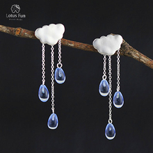 Lotus Fun 925 Sterling Silver Dangle Earrings for Women Natural Water Drop Crystal Handmade Cloud Rain Long Tassel Fine Jewelry